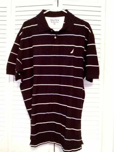 Nautica Men's Stripe Pique Polo - Black (K01051)