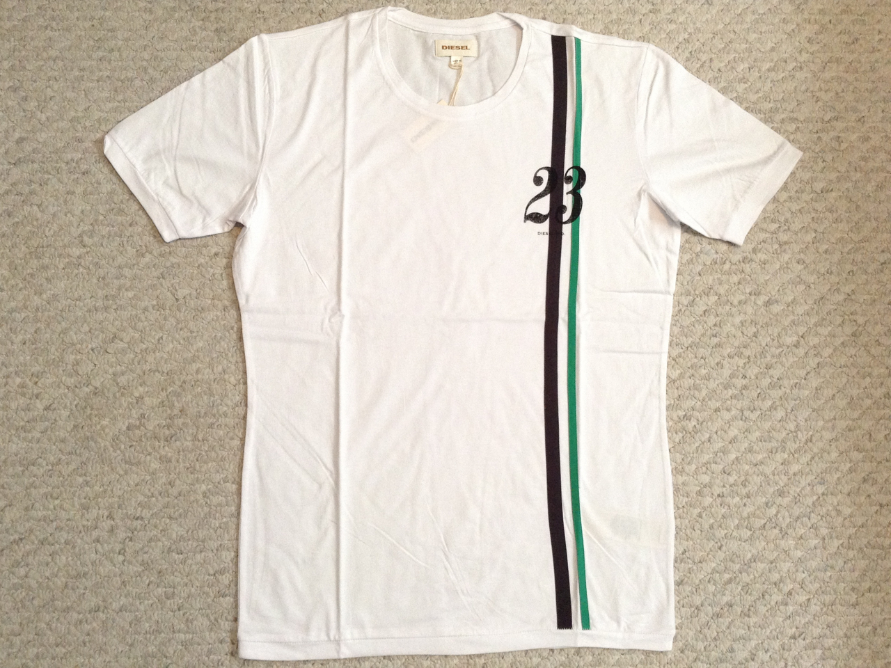 Diesel T-Slunce T Shirt - White (Brown/Green Stripe)