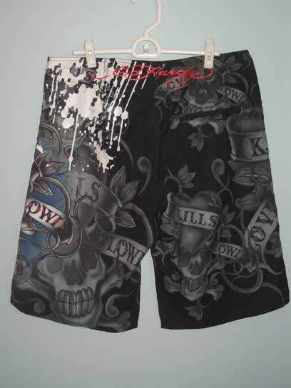 Ed Hardy Mens Love Kills Slowly Paint Board Shorts - Black