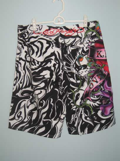 Ed Hardy Mens Love Kills Slowly Board Shorts - Black