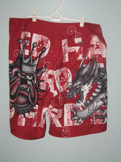 Ed Hardy Mens Party Board Shorts - Red