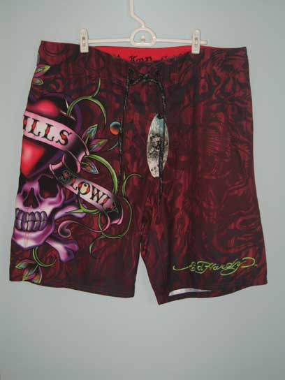 Ed Hardy Mens Love Kills Slowly Board Shorts - Red