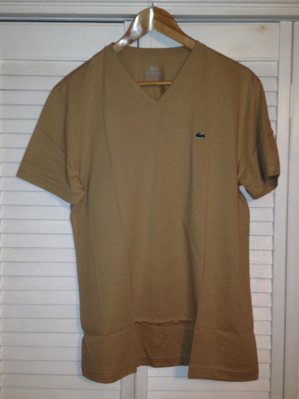 Lacoste Mens V Neck T Shirt - Sahara (Tan)