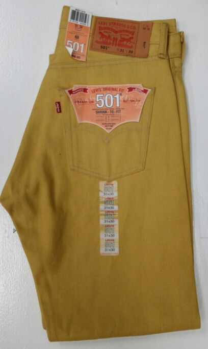 Levis 501 Jeans - Yellow Rigid - Shrink-To-Fit (1474)