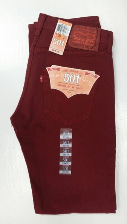 Levis 501 Jeans - Cordovan Red (2416)