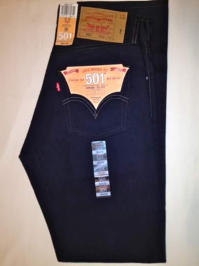 Levis 501 Jeans - Navy - Shrink-To-Fit (1135)