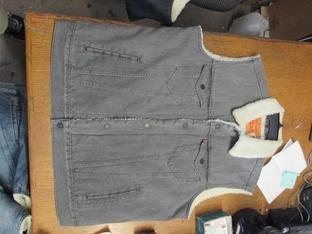 Levis Sherpa Denim Lined Vest Jacket - Gray