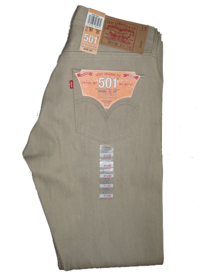 Levis 501 Jeans - Khaki Shrink-To-Fit (0541)