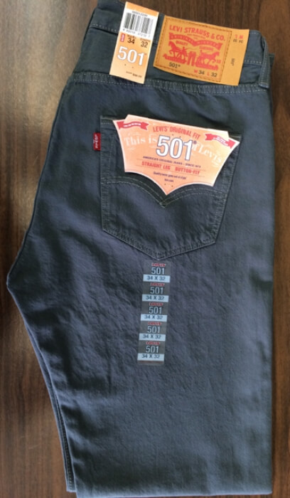 Levis 501 Jeans - Dark Charcoal (2220)