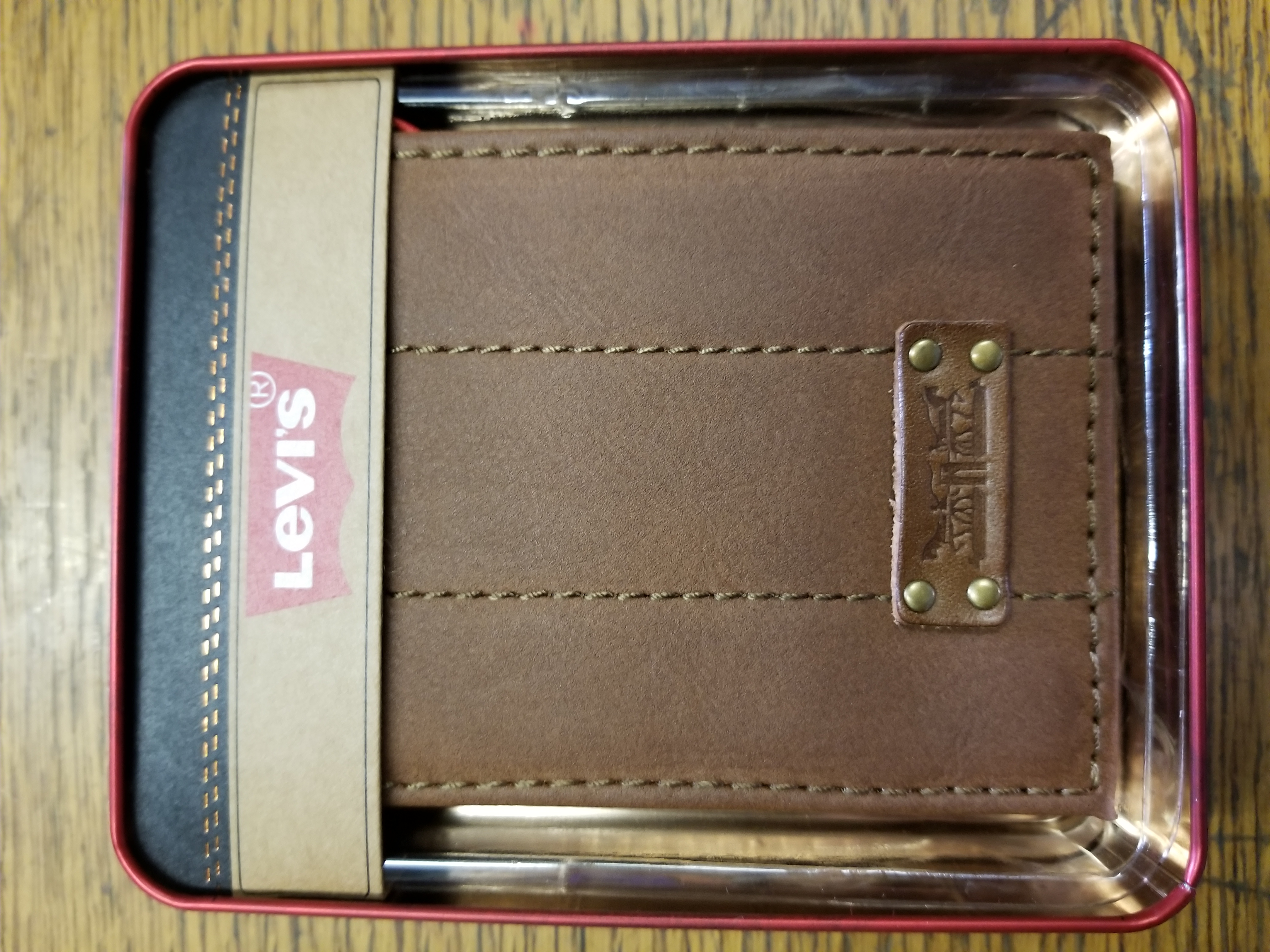 Levi's Leather Wallet Billfold TWO HORSES - TAN (31LV2216)
