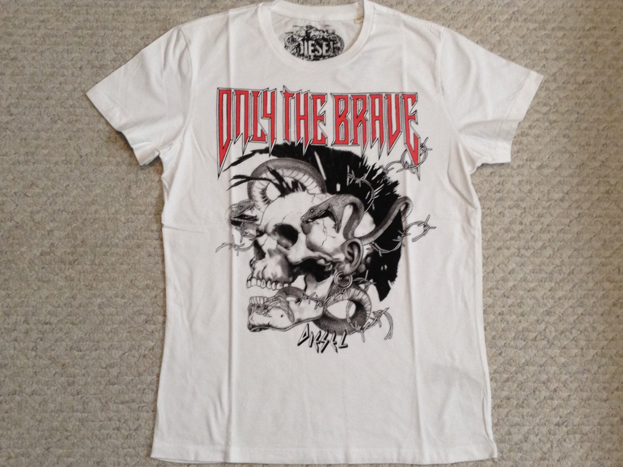 Diesel T8 Mohican T Shirt - White (Only The Brave Print)