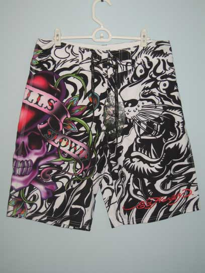 Ed Hardy Mens Love Kills Slowly Board Shorts - Black - Click Image to Close