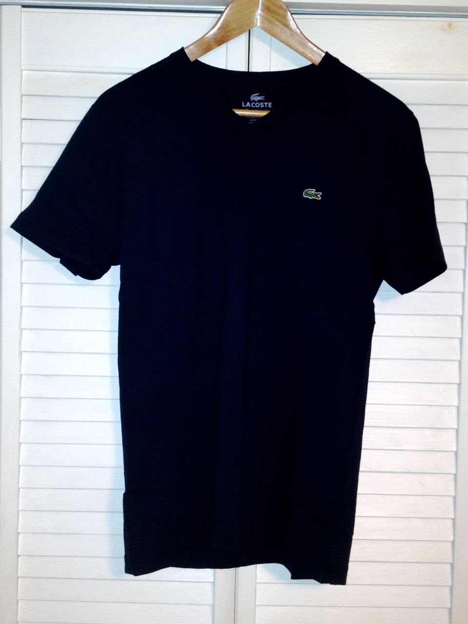 Lacoste Mens V Neck T Shirt - Marine (Navy Blue)