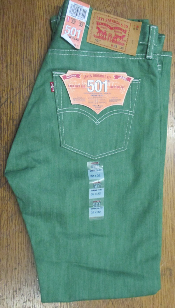 Levis 501 Jeans - Fresh Leaf Green - Shrink-To-Fit (2407)