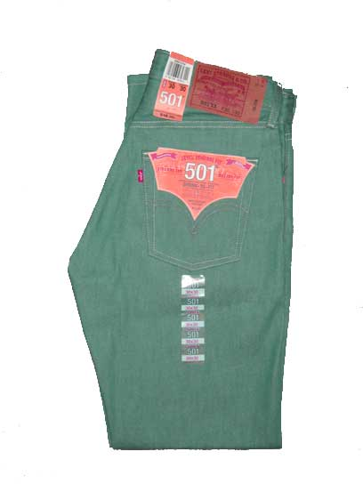 Levis 501 Jeans - Teal Green Shrink-To-Fit (0758)